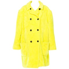 Stephen Sprouse Oversized Highlighter Yellow Faux Fur Coat, 1980s