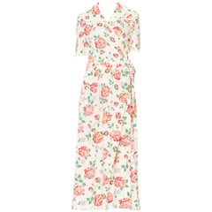 Floral Printed Cotton Dress, 1940s