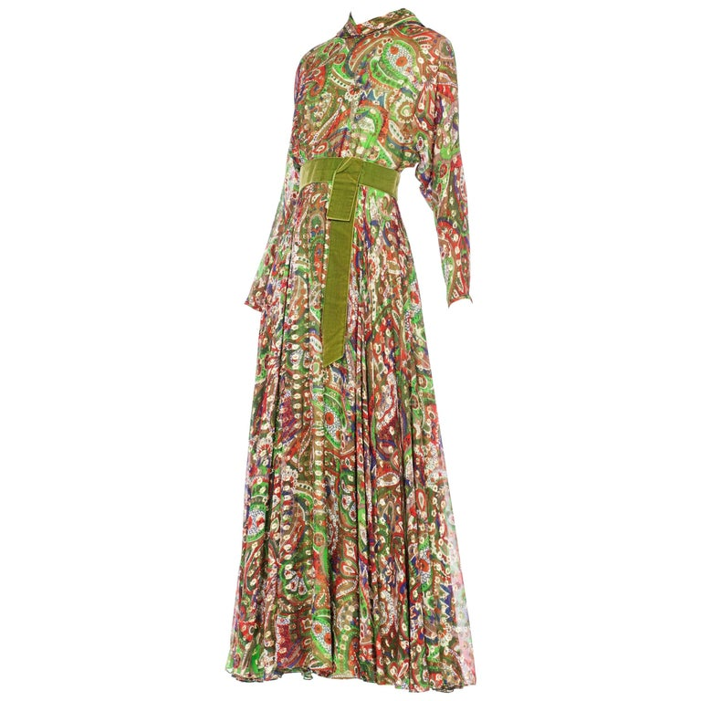Moroccan Inspired Printed Chiffon Dress woven with Lurex, 1970s