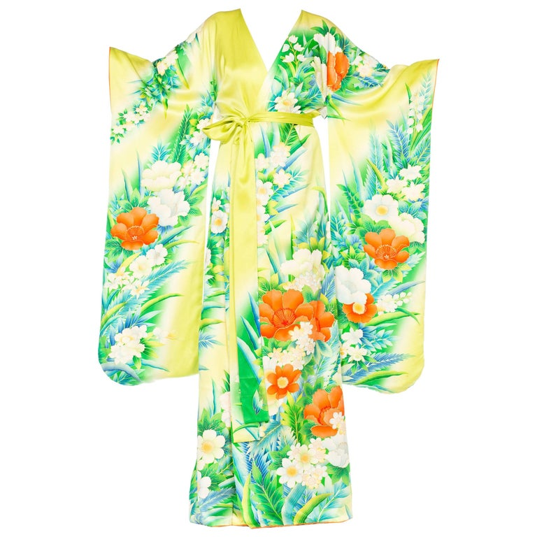 Morphew Collection Tropical Hand Painted Japanese Kimono Dress