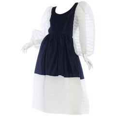 1960s Navy and White Puffy Sleeve Dress