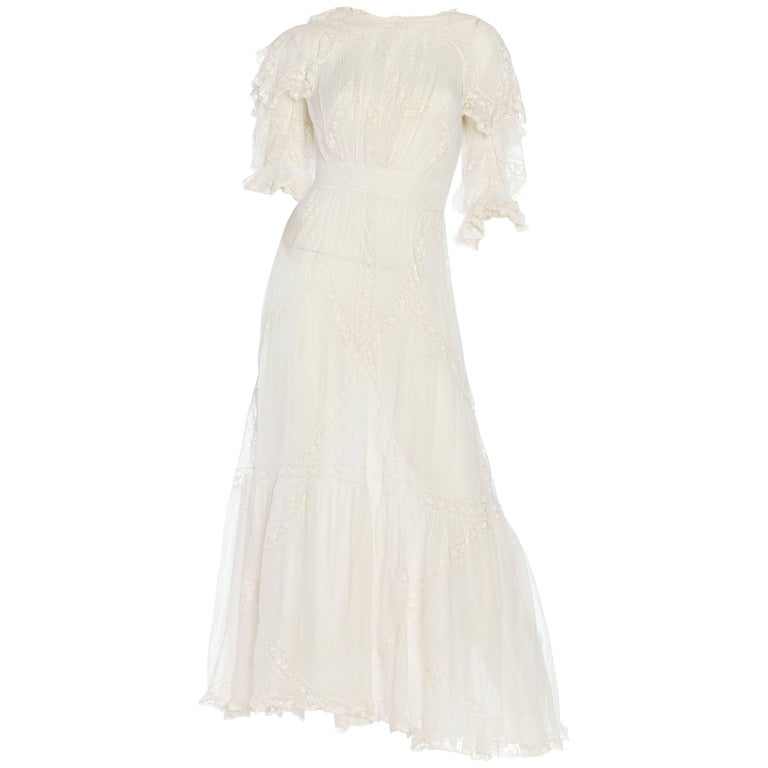 Belle Epoque Late Victorian Cotton and Lace Tea Dress