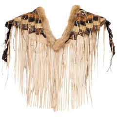 Suede Fringe Capelet With Fur Trim