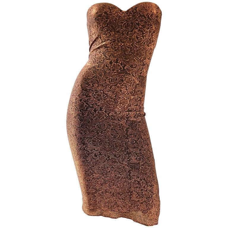 1990s Eletra Casadei Sexy Metallic Bronze / Gold Bodycon Convertible Strap Dress For Sale