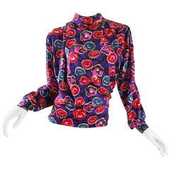 Vintage Emanuel Ungaro 1990s Purple + Pink + Blue Flower Print High Neck Blouse