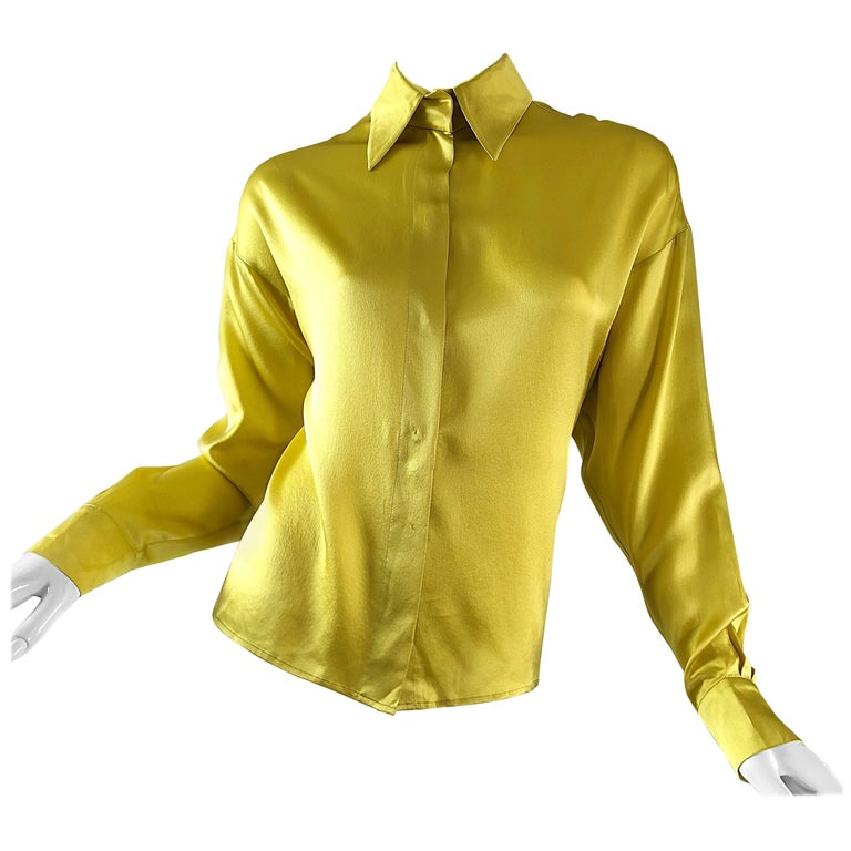 145469280bed8 Vintage Yves Saint Laurent 1990s Chartreuse Long Sleeve Liquid Silk Blouse  YSL For Sale