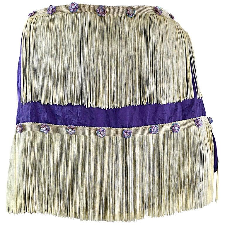 Beautiful 1950s Purple + Ivory Large Fringed vintage 50s Sequin Shawl Scarf