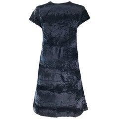 Chic 1960s Saks 5th Avenue Faux Fur Black Shift A - Line Mod Vintage 60s Dress