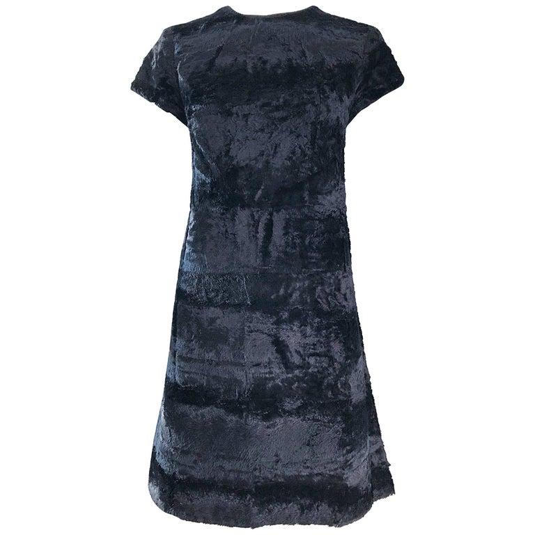 Chic 1960s Saks 5th Avenue Faux Fur Black Shift A - Line Mod Vintage 60s Dress For Sale