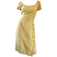 1950s Mr. Blackwell Current Size 10 / 12 Mustard Yellow Silk Vintage 50s Dress