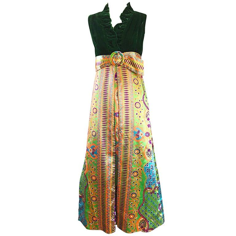 f9facfe509ae 1970s Oscar de la Renta Psychedelic Silk + Velvet Vintage 70s Maxi Dress  Gown For Sale