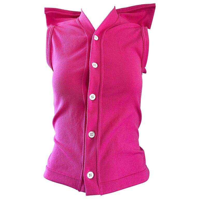 Rare Vintage Comme des Garcons 1990s Hot Pink Avant Garde Futuristic Top Blouse