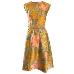 1960s House of Lord's Chic Flower Print Silk Vintage 60s Sleeveless A Line Dress
