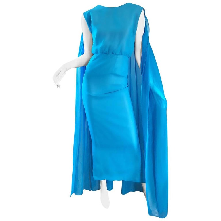 Incredible 1960s Turquoise Blue Chiffon Rhinestone Encrusted Vintage Cape Gown For Sale