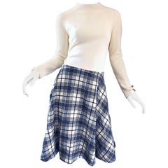 Chic 1960s Ivory + Navy Blue Tartan Plaid Long Sleeve Knit A - Line 60s Dress