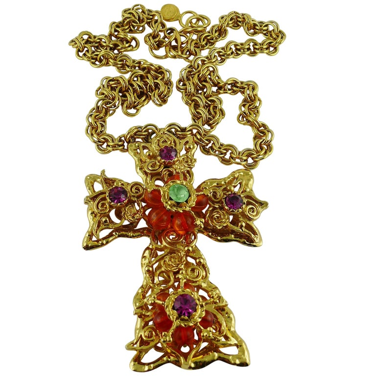 Christian Lacroix Vintage Massive Jewelled Cross Pendant Necklace For Sale