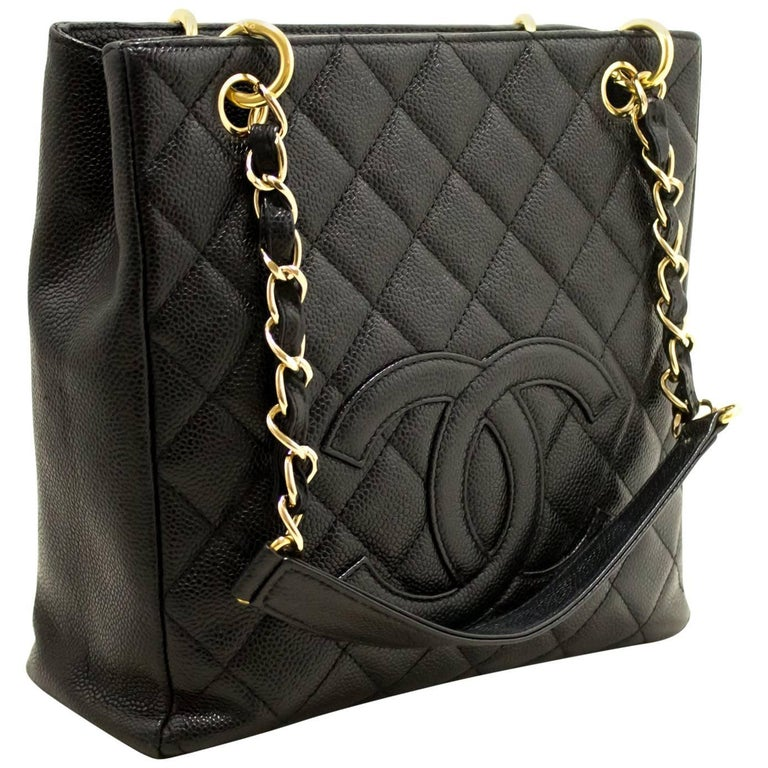 0e98d6c60191 CHANEL Caviar Chain Shoulder Bag Shopping Tote Black Quilted For Sale