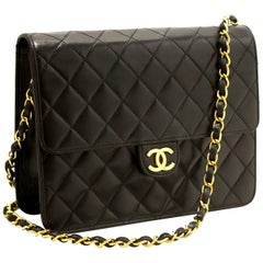 CHANEL Chain Shoulder Bag Clutch Black Quilted Flap Lambskin