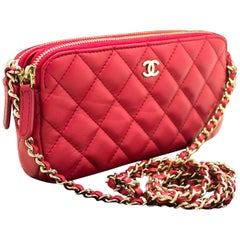 CHANEL Red Wallet On Chain WOC Double Zip Chain Shoulder Bag