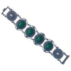 Art Deco Chinese Silver Filigree and Glass Jade Link Bracelet