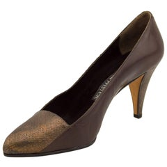 1980s Andrea Pfister Bronze and Brown Snakeskin Pumps Never Worn