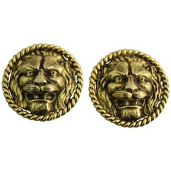 Chanel Vintage Gold Plated  Lion  Earrings