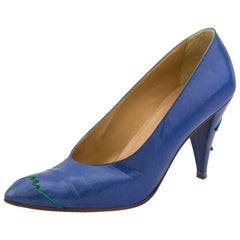 1980s Maude Frizon Blue Leather Pumps