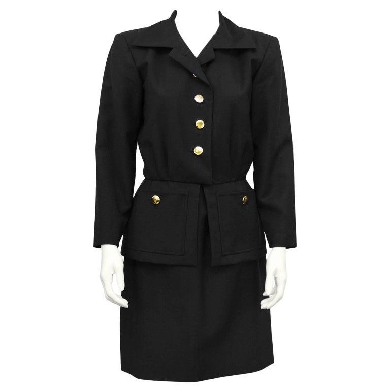 1980s Yves Saint Laurent/YSL Black Skirt Suit with Peplum