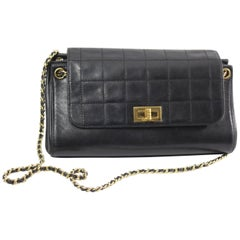 Chanel Black Quilted Lambskin Leather Shopper 2.55 Bag
