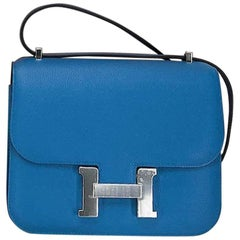 Hermes Cross body Handbag Constance 18 in Bleu Zanzibar with Palladium Hardware