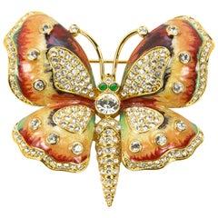 Signed KJL by Kenneth Jay Lane Enamel Faux Diamond Butterfly Brooch Pin