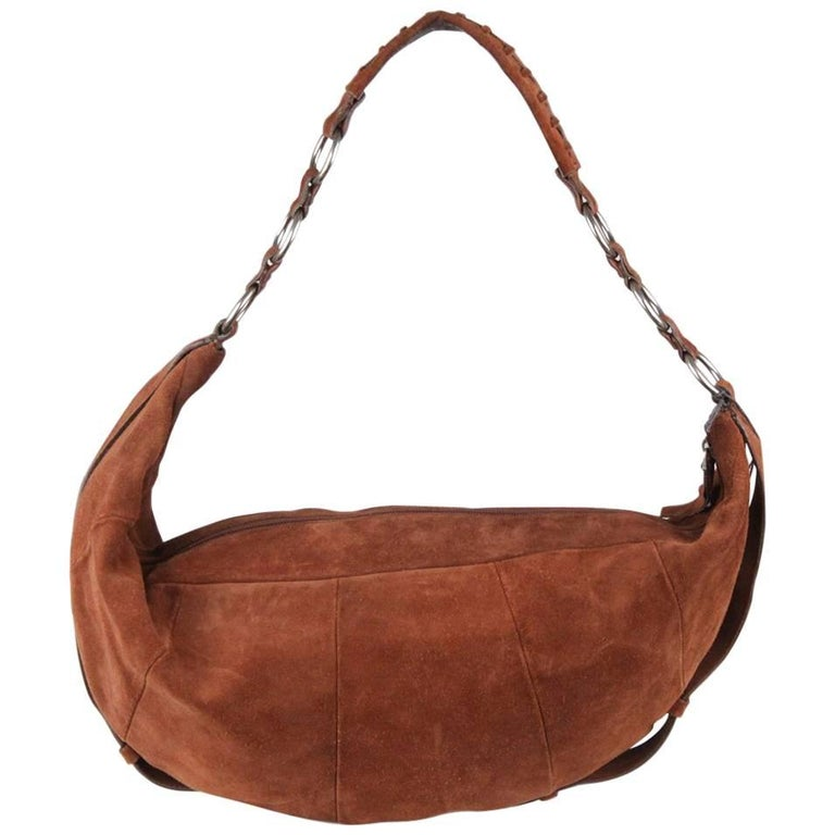 YVES SAINT LAURENT Brown Suede Hobo Shoulder Bag