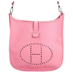 Hermes Pink Evelyne PM Shoulder Bag Epsom leather Rose Confetti