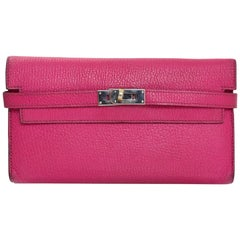 Hermes Rose Tyrien Bright Pink Chevre Mysore Leather Kelly Longue Wallet