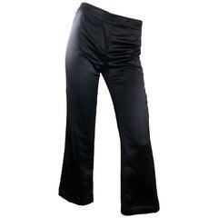 Alexander McQueen Size 4 / 6 2000s Black Silk Satin High Waisted Wide Leg Pants
