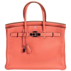 Hermes Birkin Handbag 35 in Crevette Clemence Leather with Palladium