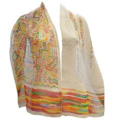 """Kansai Yamamoto  Colorful Abstract Print Silk Chiffon Vintage Shawl 58"""" x 30"""""""