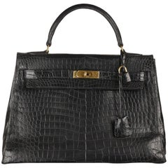 Hermes Vintage Black Crocodile Leather Kelly 32 Bag with Cites, 1946