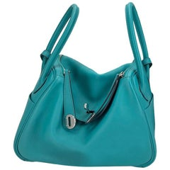 Hermes Handbag Lindy 26 in Blue Lagoon Turquoise Swift Leather with Palladium hw