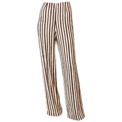 Bill Blass Chocolate and Ivory Sequined Stripe Evening Pant