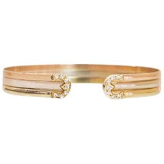 Tri-Colored 18-Karat Gold and Diamond Cuff Bracelet