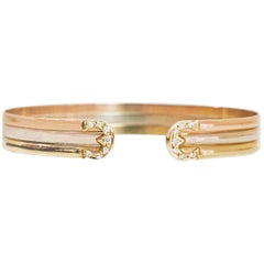 Tri-Colored 18k Gold & Diamond Cuff Bracelet
