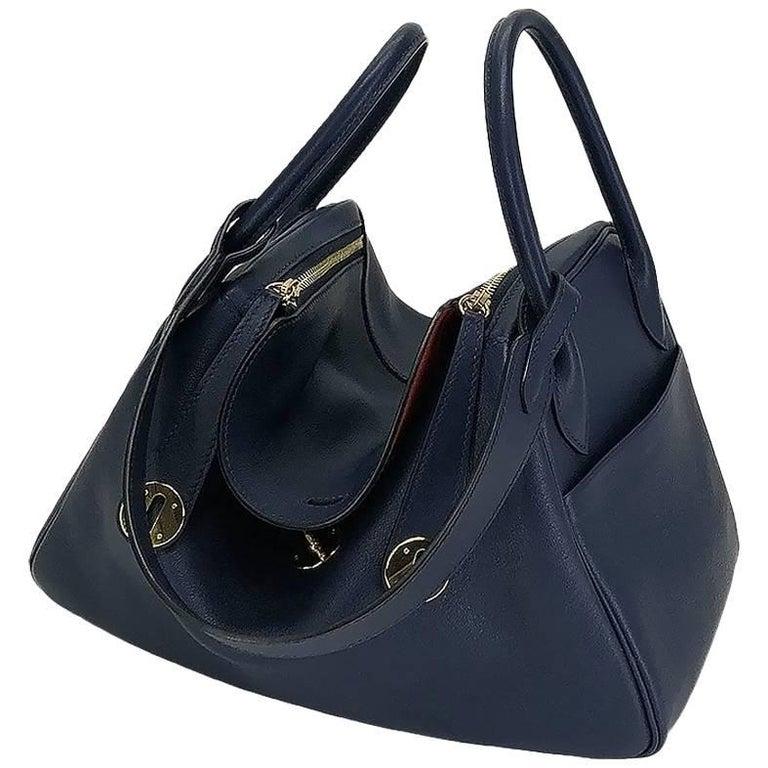 Hermes Handbag Lindy 30 Blue Nuit with Rouge Tomate Interior Gold Hardware (ghw)