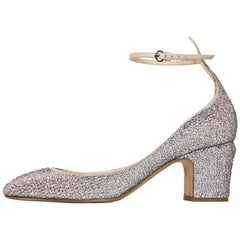 Valentino Pewter & Taupe Crystal Encrusted Pumps sz 38