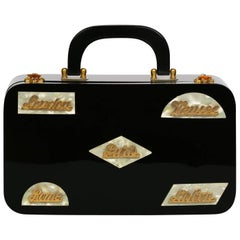 Wilardy Black Lucite Mother of Pearl and Gold Travel Destination Bag, 1950s