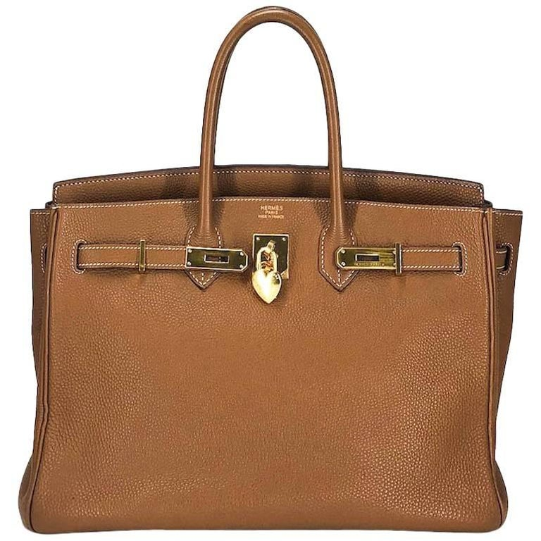 Hermes Handbag Birkin 35 in Gold Clemence Leather with Gold Hardware (ghw)