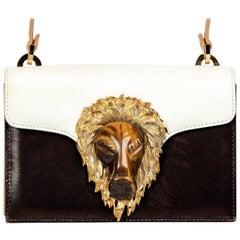 1970s Valentino Tiger's Eye Lion Head Gold Brown Ivory Shoulder Bag