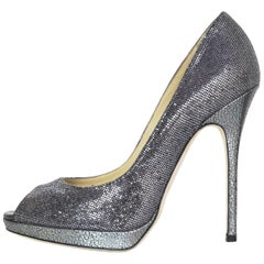 Jimmy Choo Silver Glitter Platform Peep Toe Pumps sz 37.5