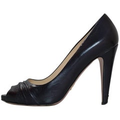Prada Black Leather Ruched Peep Toe Pumps sz 37
