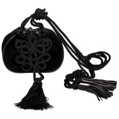 Yves Saint Laurent Russian Collection Documented Suede Leather Tassel Bag, 1990s